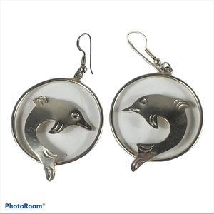 Alpaca Silver Mexico Dolphin Circle Hoop Earrings